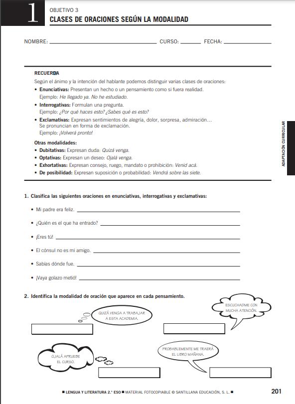 Recursos Complementarios Fotocopiables Lengua y Literatura 2 ESO Santillana